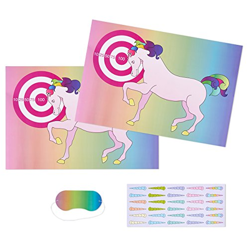 Pin the Horn on the Unicorn Party Game Activity for 30 - Deluxe Game Set Includes 2 Count Posters 24.4 x 16.5 Inches Each, 30 Horn Stickers, and 1 Blindfold Mask 7 x 3.1 (Slumber Party Sticker)