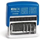Colop S120/WD - Sello fechador con texto (altura de las cifras: 4 mm, 12 palabras en alemán, tinta roja o azul)