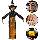 KI Store Animated Witch Hanging Halloween Decorations Prop Haunted House Decoration for Yard Garden House Party Porch Door Decor