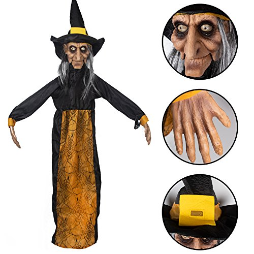 KI Store Animated Witch Hanging Halloween Decorations Prop Haunted House Decoration for Yard Garden House Party Porch Door -