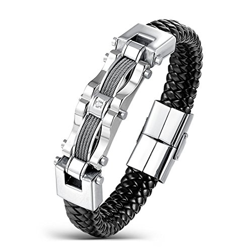 Areke Men's Stainless Steel Braided Leather Bracelets, CZ Punk Cuff Bracelet Bangle (Leather Studded Tie)