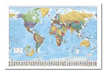 World map poster with country flags magnetic notice board white world map poster with country flags magnetic notice board white framed 965 x 66 cms gumiabroncs Choice Image
