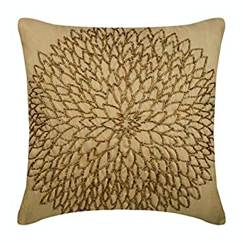 The HomeCentric Luxury Gold Accent Pillows, Beaded Medallion Flower Pillows Cover, 18 x18 Decorative Pillow Covers, Square Silk Pillowcase, Floral Contemporary Throw Pillows Cover – Gold Blossomings