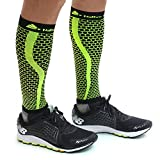 Native Planet HONEYCOMB Calf Compression Sleeves Unisex, MD's Choice (Small - Medium, Black/Yellow)