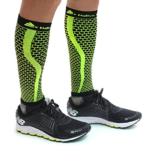 Native Planet HONEYCOMB Calf Compression Sleeves Unisex, MD's Choice (Small - Medium, Black/Yellow) by Native Eyewear