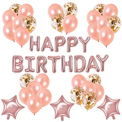 Rose Gold Happy Birthday Balloons Set–Baby Child Adult Cute Party Supplies Birthday Celebration Decorations Latex Confetti and Star Balloons+''HAPPY BIRTHDAY'' Letters Balloon String (happy birthday) by MODEHOME