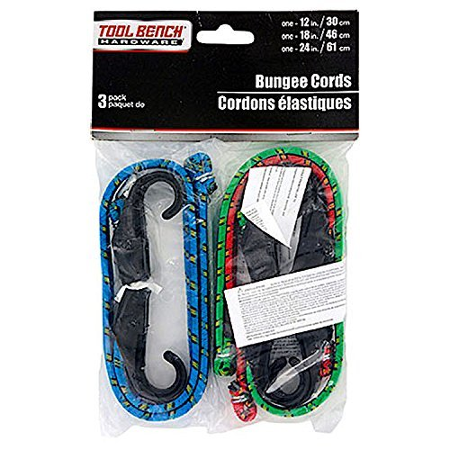 Bench Hardware (3-Count Pack Of Tool Bench Hardware Bungee Cords - 1 Each of 12 inch, 18 inch, 24 inch Bungees with Plastic Hooks)