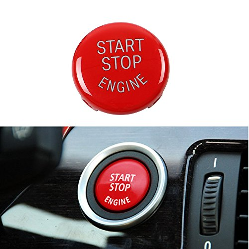 Thor-Ind Car Engine Start Stop Button Replace Cover For BMW Old 3 5 Series X1 X3 X5 X6 (E Chassis E60 E70 E71 E72 E90 E91 E92 E93 E83 E84 E87 E89) Ignition Switch Button Cover Cap Replacement (Red)