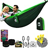 Double Camping Hammock with Tree Straps | 4 in 1 Parachute Hanging Portable for Outdoor Backpacking Green