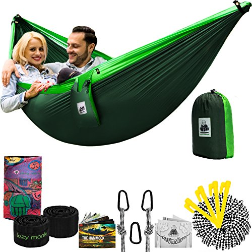 Double Hammock Camping Gear Straps | Best Portable Parachute Nylon 2 Person Folding Hammock with Tree Hanging Straps, Rope & Instruction Booklet | Ideal for Travel, Hiking & Backpacking (People Hanging)