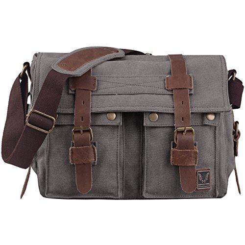 Jack&Chris Vintage Canvas Leather Messenger Bag Military Shoulder Crossbody Bag Schoolbag,MC2138K-5 (dark gray)
