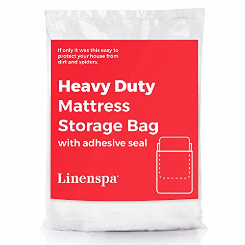 (Linenspa Heavy Duty Mattress Storage Bag with Double Adhesive Closure - Perfect for Moving, Storage and Disposal)