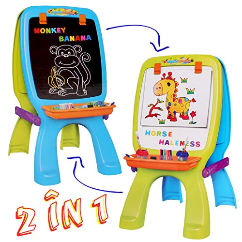 deAO Draw and Doodle Easel for Children 2 in 1 Double Sided Boards...