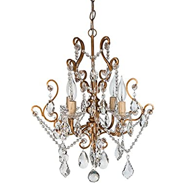 'Tiffany Collection' Authentic Crystal Swag Chandelier Lighting with 4 Lights, Mini Style W15.5  X H17  (Gold)