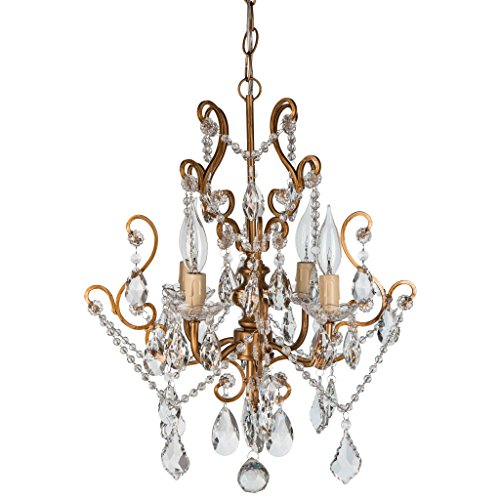 'Tiffany Collection' Authentic Crystal Swag Chandelier Lighting with 4 Lights, Mini Style W15.5″ X H17″ (Gold)