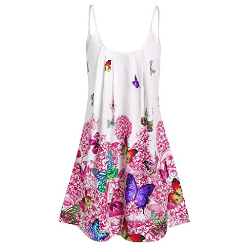 Women Summer Plus Size O-Neck Casual Print Strap Dress Tops Pink