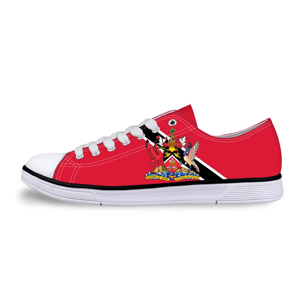Canvas Low Top Sneaker Casual Skate Shoe Mens Womens Trinidad and Tobago Flag National Emblem