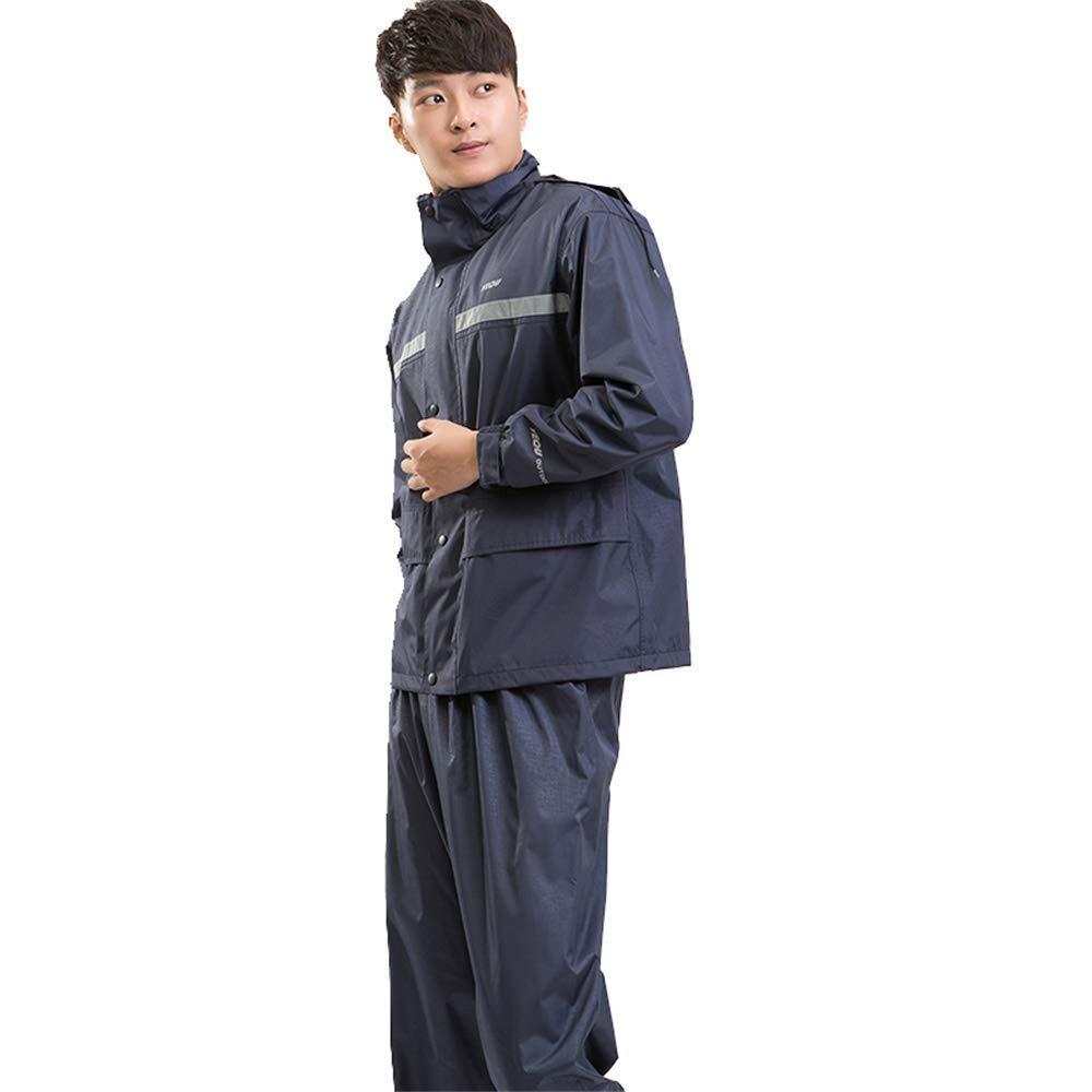 bleu L Guyuan Un Pantalon de Pluie imperméable pour Adulte en Deux Couches Convient aux Hommes et aux Femmes célibataires en Moto en Plein air imperméable Double (Couleur   bleu, Taille   L)