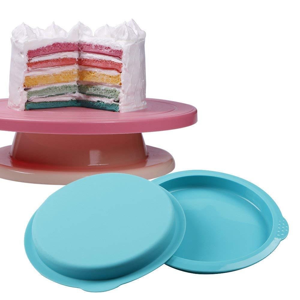 webake Set di 5 Stampo Torta Rotondo Tortiera Stampi in Silicone per Dolci 6 Antiaderenti Vassoio di Bakeware Stampi di Cottura per la Festa di Compleanno Anniversario di Matrimonio