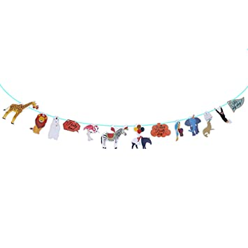 Tinksky Cumpleaños Bunting Banner Diseño Animales Selva Banderas ...
