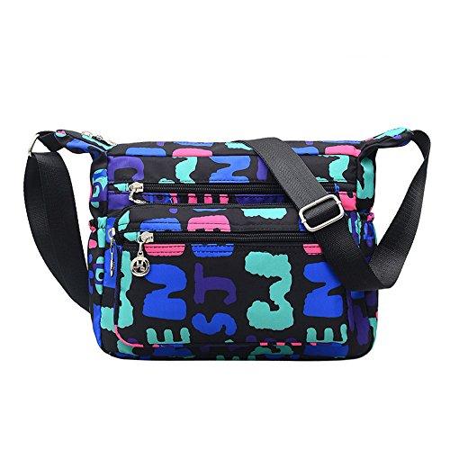 Purse handbags Blue ENKNIGHT for Nylon Women Crossbody Letters Bag Travel Shoulder U44TwBq