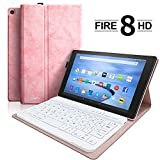 Keyboard Case for HD 8 (7th and 8th Gen 2017 and 2018 Releases) HD 8 Tablet Case with Detachable Wireless Bluetooth Keyboard