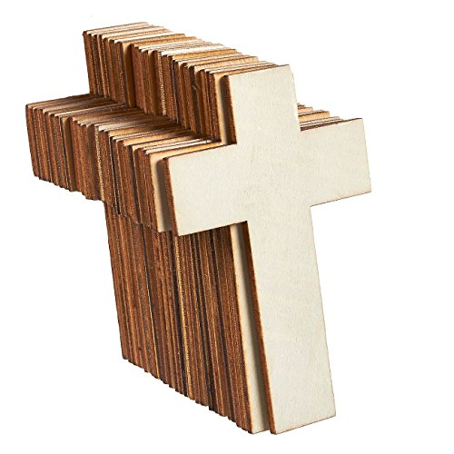 Unfinished Wood Cutout - 25-Pack Cross Shaped Wood Pieces for Wooden Craft DIY Projects, Sunday School, Church, Home Decoration, 2.7 x 4.2 inches -