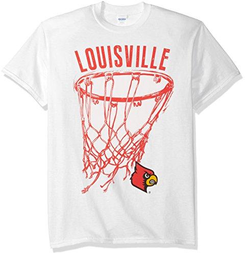 New World Graphics NCAA Louisville Cardinals Basketball Net Drop Short Sleeve Tee, X-Large, White