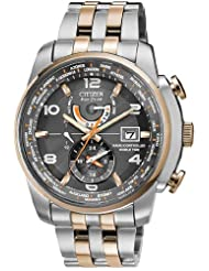 Mens Watch Citizen AT9016-56H Eco-Drive Radio Controlled World Time Two Tone St