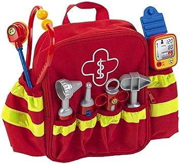 Theo Klein 4314, Mochila de rescate, Con estetoscopio, jeringuilla y mucho más, Tensiómetro electrónico con sonido, Medidas: 28 cm x 25 cm x 8.5 cm, Juguete para niños a partir de 3 años