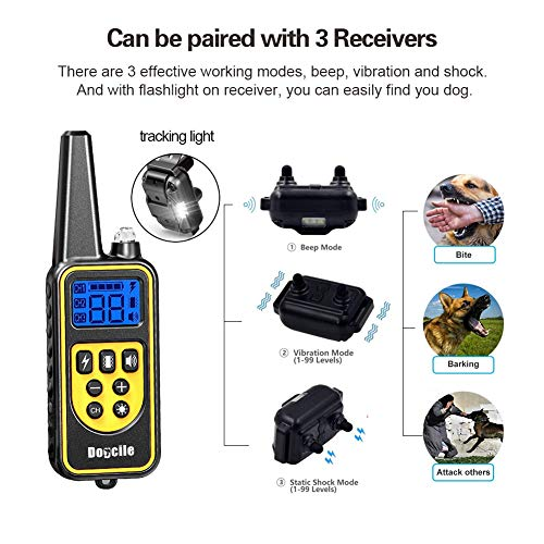YISENCE Shock Collar for Dogs, Dog Shock Collar with Remote 2500FT Range, Waterproof and Rechargeable, Beep, Vibrate and Shock, Dog Training Collar with Remote by YISENCE (Image #2)
