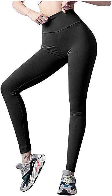 Women High Waist Solid Color Yoga Leggings Tummy Control Stretch Ladies Leggings