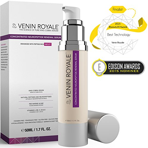Snake Venom Face Cream - Peptide Serum for Wrinkles Fine Lines Rosacea & Uneven Tone - Best All In One Anti-Aging Neuropeptide Skin Care Treatment & Botox Alternative from Venin Royale (1.7oz)