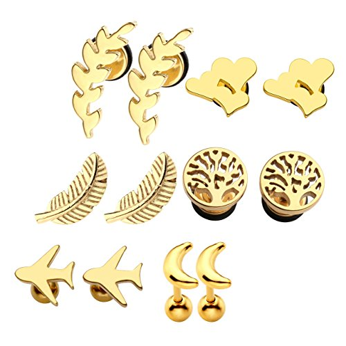(Gold 6 Pairs Pack Earring Studs Feather Moon Tree of Life Catkins Airplane Triple-Hearts 16G Cartilage Helix Tragus Ear Lobe Piercing Flat Back Ball Screw Mixed )