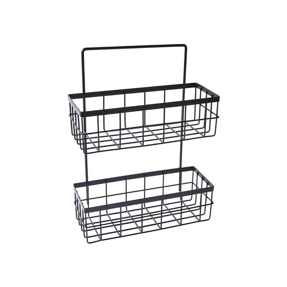 Home wrought iron double-layer hanging basket kitchen storage shelf Free punching bathroom shelf storage basket spice rack Wall-mounted storage basket, 25.5x10x33.5cm (Color : Black) by AD