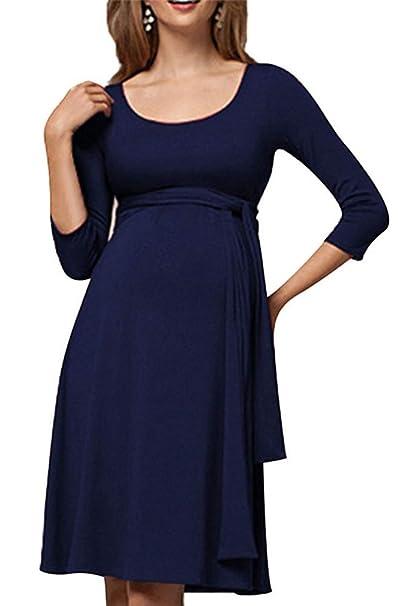 Vestido de Maternidad de Moda, Vestido de Lactancia de Cuello Redondo de Color sólido Mujer