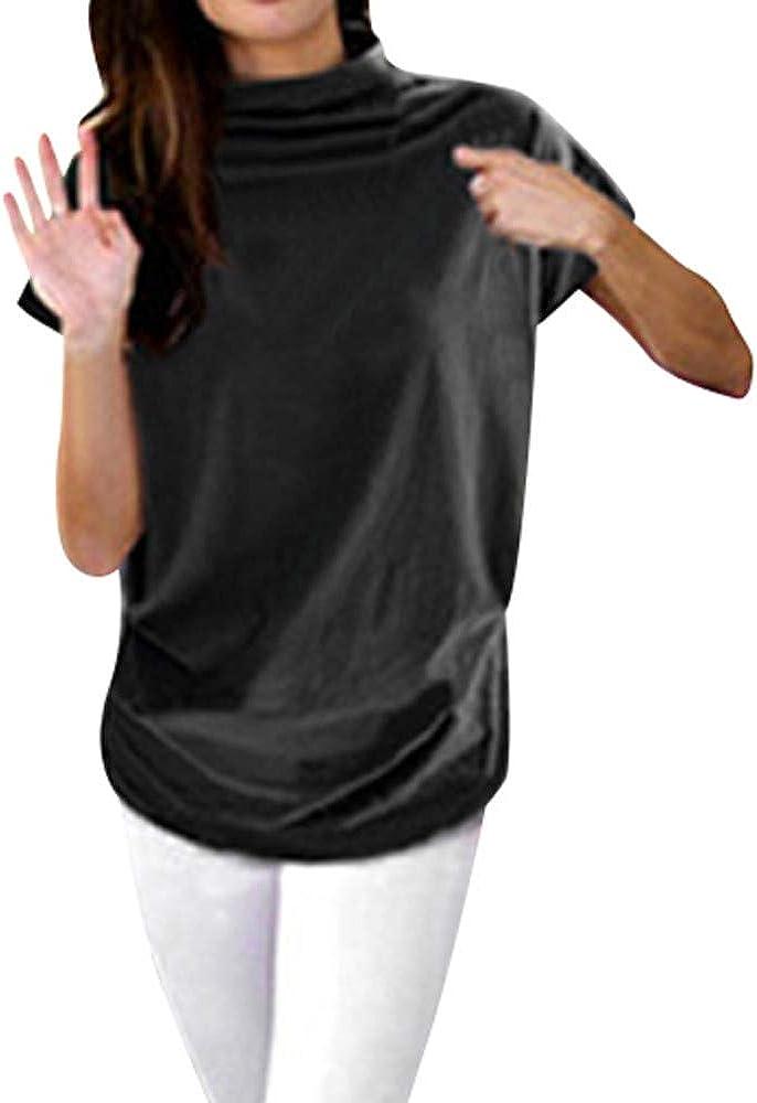 Camiseta de Mujer, Verano Suelto Cuello Alto Manga Corta ...