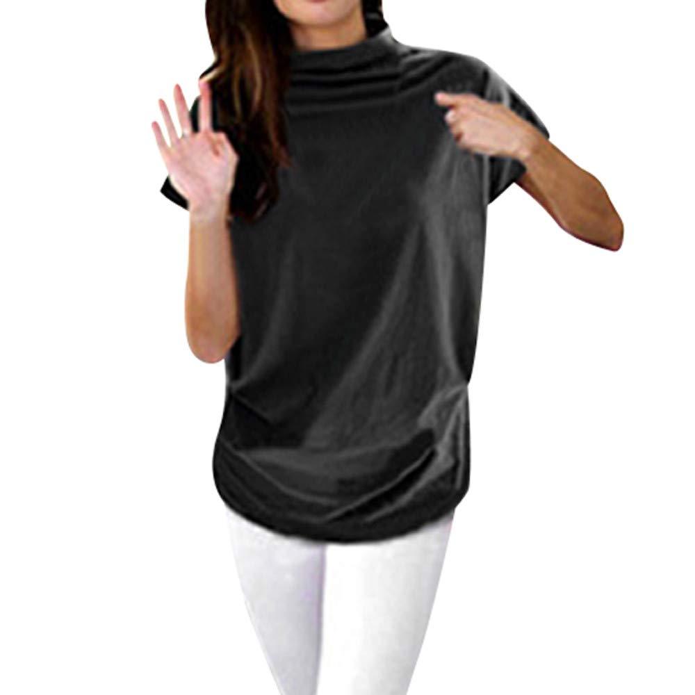 Women Turtleneck Short Sleeve Cotton Solid Casual Blouse Top T Shirt Plus Size Black