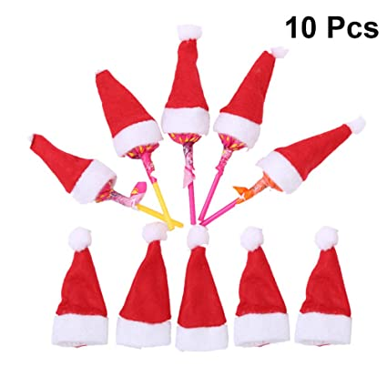 c54c0bf9aea Image Unavailable. Image not available for. Color  Amosfun 10pcs Mini DIY Christmas  Hat Lollipop Candy Hat Santa Claus Hat Christmas Doll Crafts