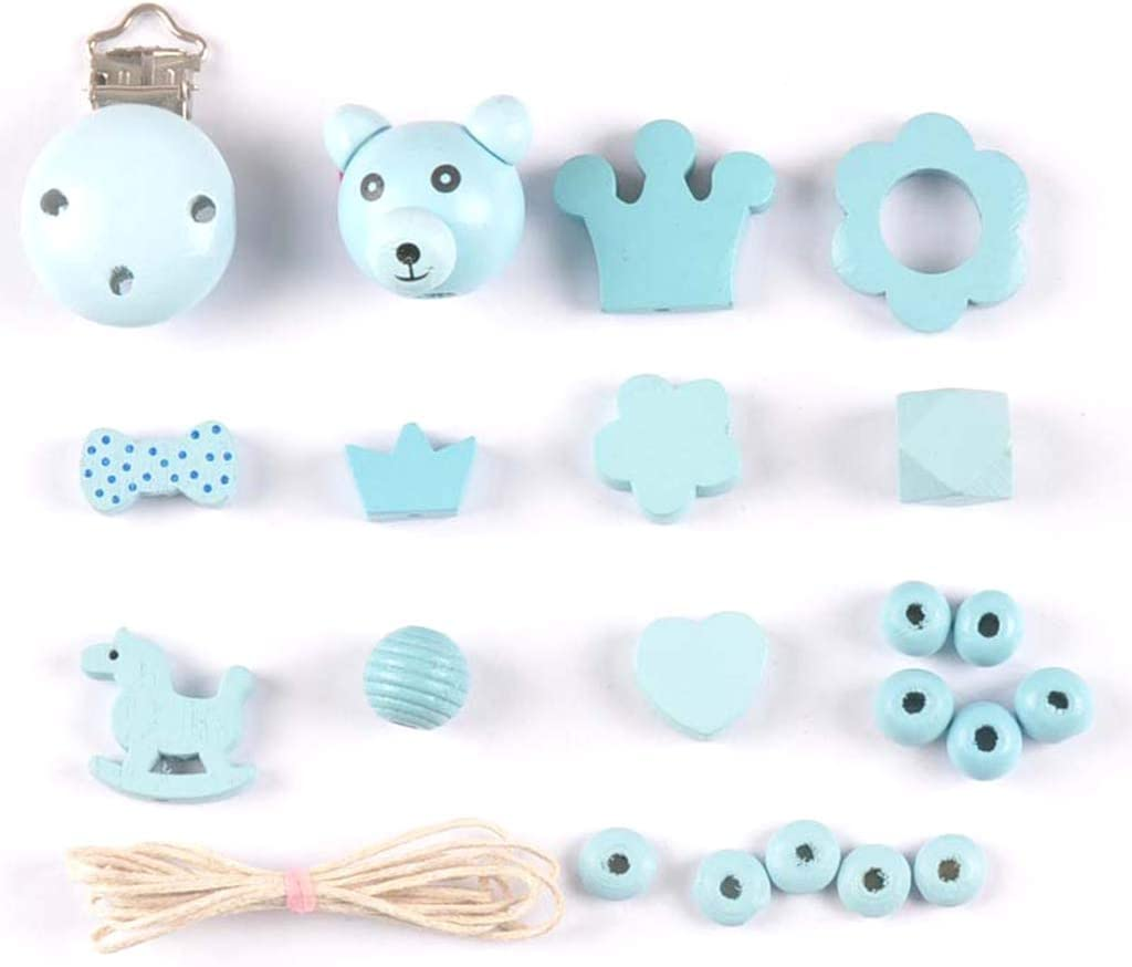 A0127 DIY Making Zubeh/ör Einfache Cute Baby Schnullerkette Clip Holzperlen Schmuck