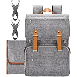 Diaper Bag Backpack,Upsimples Diaper Backpack Nappy Diaper Bag for Dad&Mom Multi-Function Travel Backpack with Stroller Straps,Changing Pad,Laptop Compartment and Insulated Pockets(Grey)