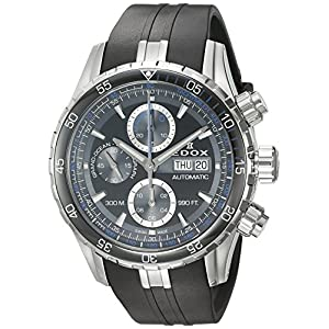 Edox Men's 'Grand Ocean' Swiss Automatic Stainless Steel and Rubber Diving Watch, Color:Black (Model: 01123 3BUCA NBUN)