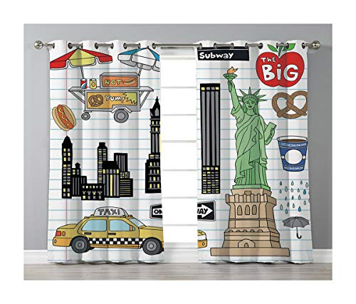 Goods247 Blackout Curtains,Grommets Panels Printed Curtains Living Room (Set of 2 Panels,52 95 Inch Length),Doodle
