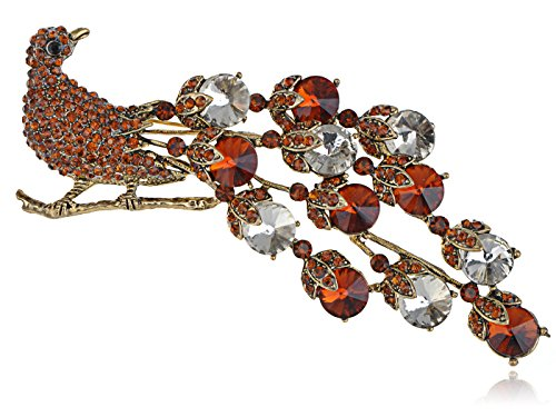 Alilang Exotic Bronze Gunmetal Tone Smoked Topaz Neon Colorful Crystal Rhinestone Peacock Bird Tail Brooch Pin -