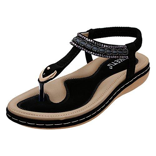 Black Rhinestone Clip - KUONUO Women Flat Sandals Bohemian Glitter Summer Beach Elastic Back Strap Rhinestone Sandals for Women Clip Toe Flip Flops Shoes Black 6 B(M) US