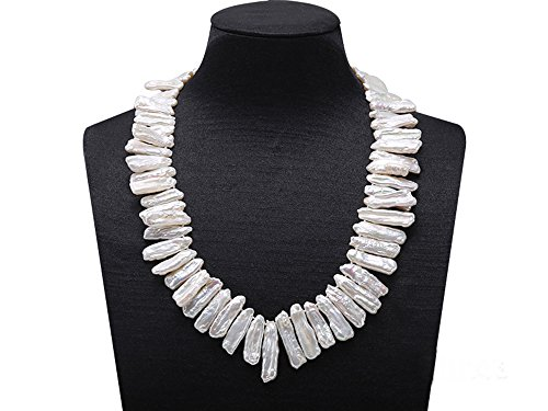 Pearl Biwa Cultured Freshwater (JYX White Biwa Cultured Freshwater Pearl Necklace 18.5