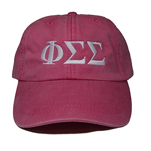Phi Sigma Sigma (L) Hot Pink with White Thread Sorority Baseball Hat Cap Greek Letter Sports Cap Adjustable Strap Phi Sig (Store Chicago Lauren Ralph)
