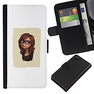 YiPhone /// Tirón de la caja Cartera de cuero con ranuras para tarjetas - Cute Girl Glasses - Sony Xperia Z3 D6603