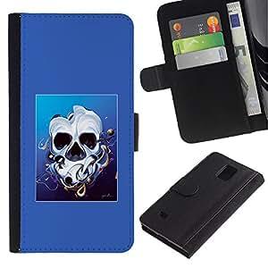 NEECELL GIFT forCITY // Billetera de cuero Caso Cubierta de protección Carcasa / Leather Wallet Case for Samsung Galaxy Note 4 IV // Derretido cara del cráneo