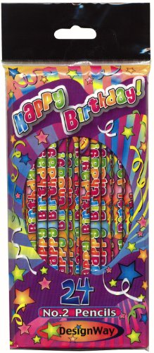 DesignWay Happy Birthday Pencil, 24-Pack